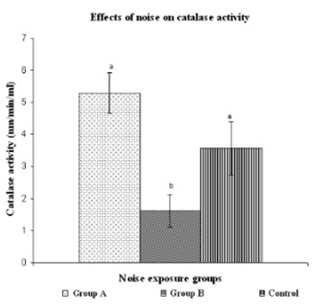 Effects of noise exposure on catalase activity of growing lymphocytes